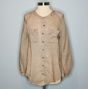 Umgee Oversized Lace Back Button Down Top
